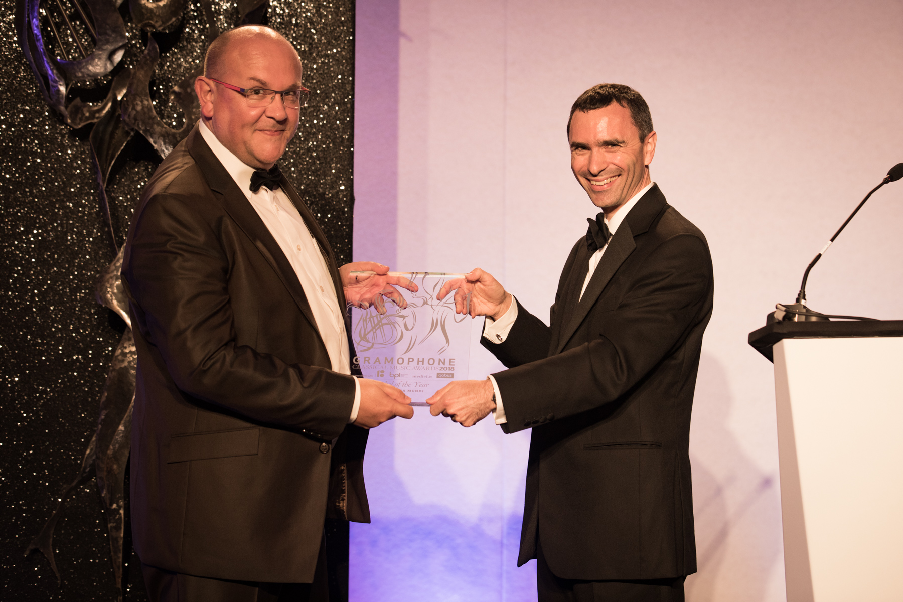 Editor Martin Cullingford (right) presents Harmonia Mundi with their Label of the Year Award