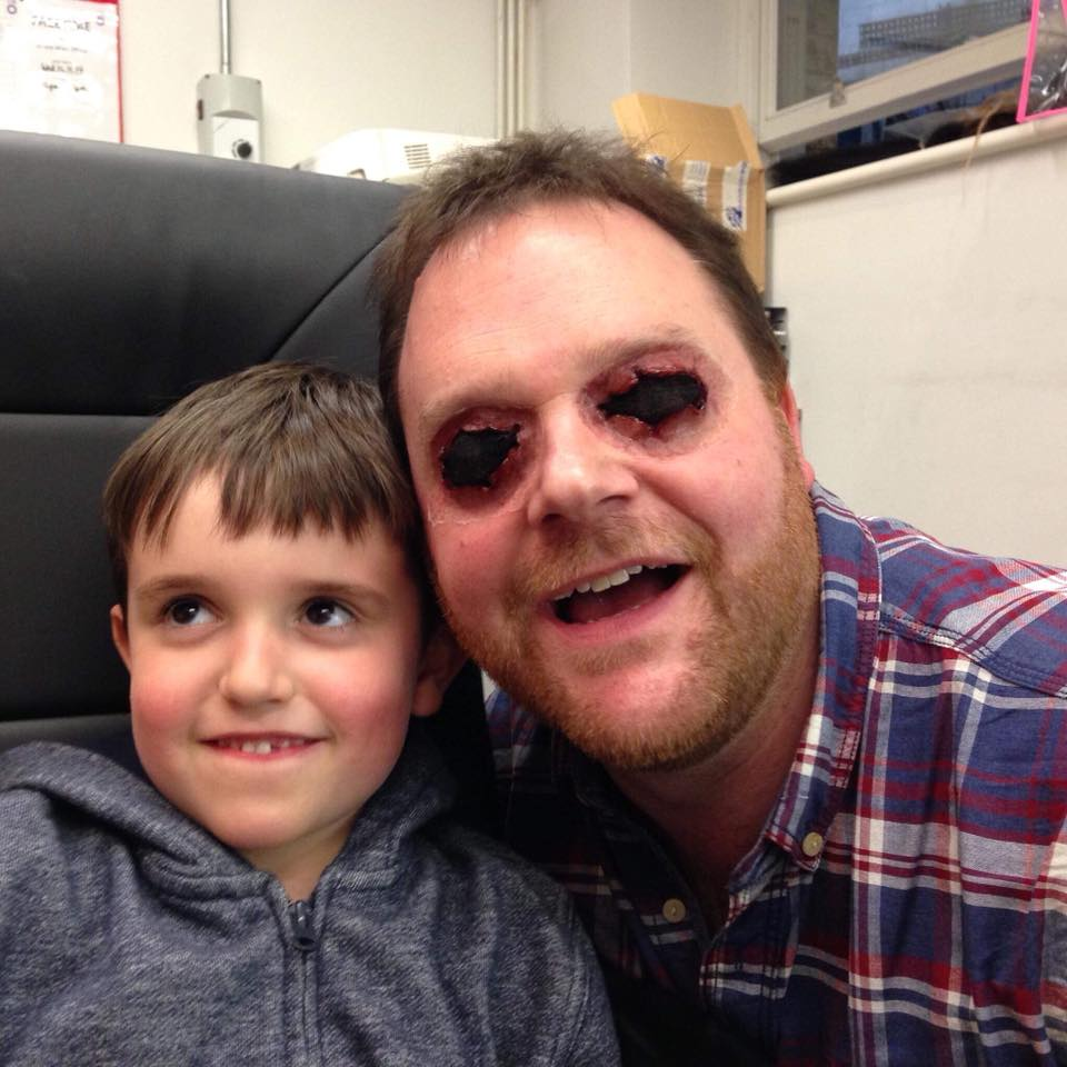 Baritone Roland Wood and his son trying out a new look for Thebans at ENO