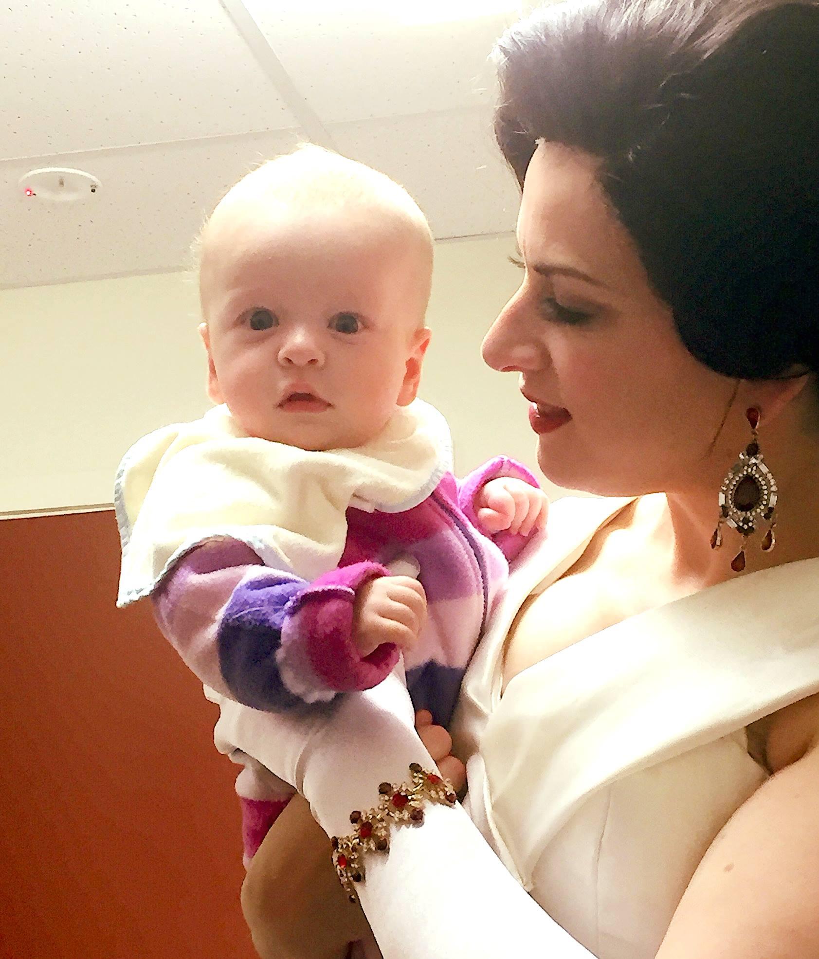 Soprano Madeleine Pierard with her daughter at New Zealand Opera