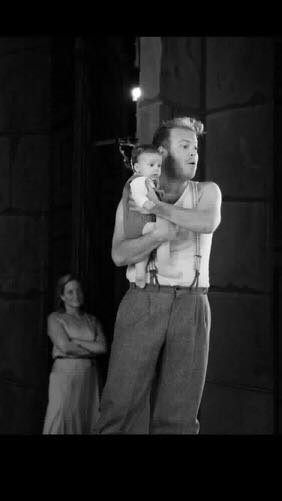 Soprano Mari Eriksmoen looks on as her daughter appears onstage with tenor Andrew Staples