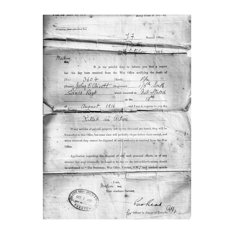 ...as well as the letter informing Jack's mother that he had been killed in action.
