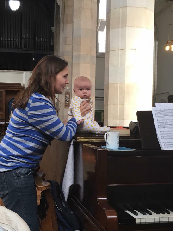 Repetiteur Alice Turner with her daughter at rehearsals for Don Giovanni with The Opera Project