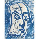 The portrait of Mozart is a woodblock print, created around 1990-95