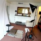 The makeshift studio in a Paris hotel room
