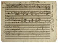 """F. Schubert. Autograph manuscript of the songs """"Tischlerlied"""", D.274, and """"Totenkranz für ein Kind"""", D.275, 1815 Estimate £50,000-70,000"""