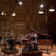 Isabelle Faust, Alexander Melnikov and Jean-Guihen Queyras recording the trios (photo Sarah Blum)