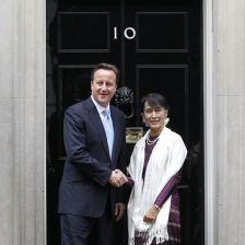 Aung San Suu Kyi with prime minister David Cameron at No 10 Downing Street (phot