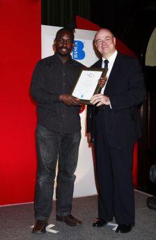 Jason Yarde receives the Contemporary Jazz Award from Sir Nicholas Kenyon