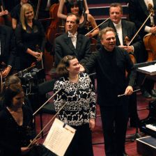 2009 Leeds competition winner Sofya Gulyak on stage with Sir Mark Elder and the