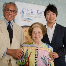 Lang Lang, following his acceptance of the global ambassador title, with Dame Fa