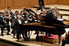 Sir Neville Marriner conducts Murray Perahia and the ASMF at his 90th birthday concert (photo by Mark Allan)