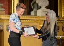 Kerry Andrew receives an Award from Dame Evelyn Glennie