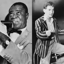 Louis Armstrong (left) and Leonard Bernstein (right)