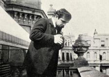 Debussy on the steps of Eastbourne's Grand Hotel in the summer of 1905, where he spent much of his time correcting proofs of La mer, completed four months earlier