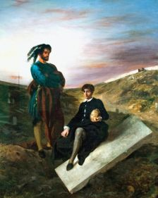 Hamlet and Horatio at the Cemetery – a painting by Delacroix (1798-1863)