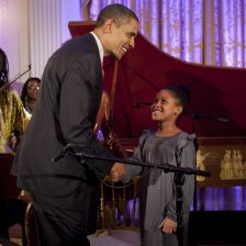 Obama greets young musicians(credit: Rick McKay/White House photo office)