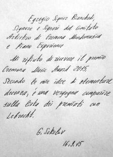 Sokolov's letter (in Italian)