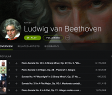 Spotify's Beethoven page: to the labels, each stream is worth somewhere between $0.006 and $0.0084