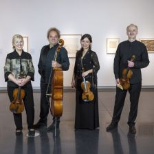 The new Takács line-up, featuring Harumi Rhodes, second from right. (Photo: Glenn Asakawa/University of Colorado)