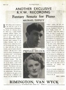 The first recording of Tippett's Fantasy Sonata for Piano, advertised in Gramophone, August 1941