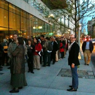 My partner Brian in front of the line waiting to get tickets for Alan Gilbert