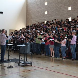 Matt Oltman rehearses the choir at Chanticleer's first National Youth Choral Fes