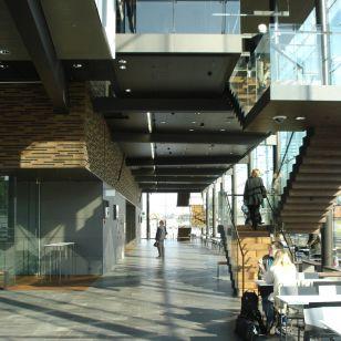 Downstairs in the Musiikkitalo's glass-walled foyer