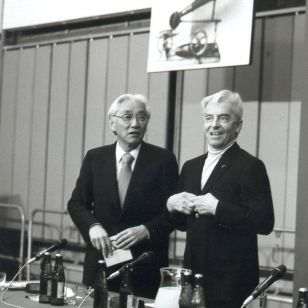 Karajan with Akio Morita at launch of first CD